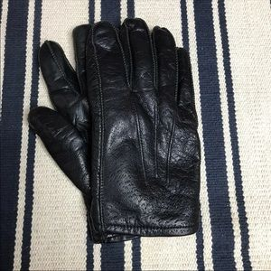 Black Leather Men's Gloves Fur L